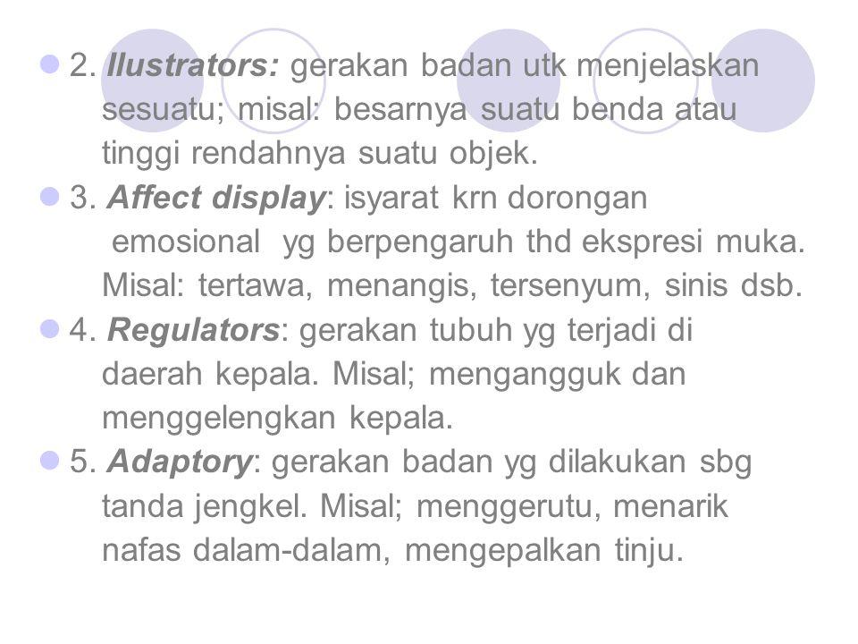 2. Ilustrators: gerakan badan utk menjelaskan sesuatu; misal: besarnya suatu benda atau tinggi rendahnya suatu objek. 3. Affect display: isyarat krn d