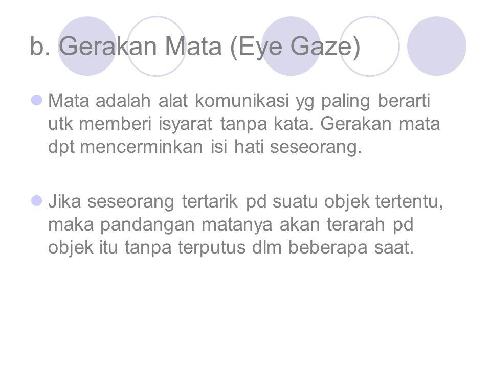 b. Gerakan Mata (Eye Gaze) Mata adalah alat komunikasi yg paling berarti utk memberi isyarat tanpa kata. Gerakan mata dpt mencerminkan isi hati seseor