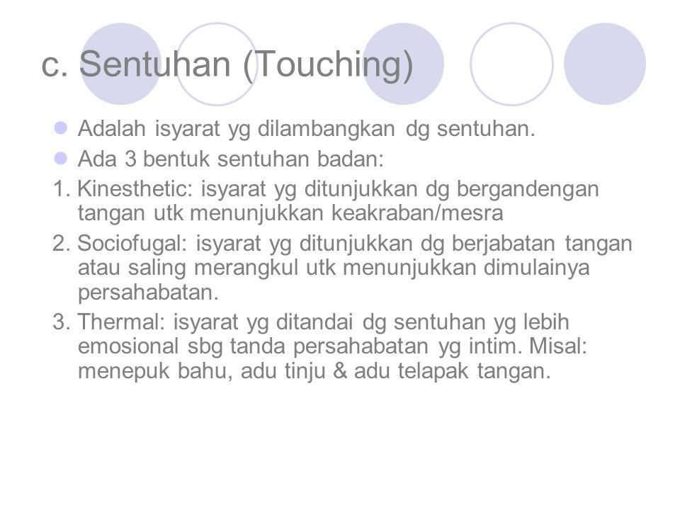 c. Sentuhan (Touching) Adalah isyarat yg dilambangkan dg sentuhan. Ada 3 bentuk sentuhan badan: 1. Kinesthetic: isyarat yg ditunjukkan dg bergandengan