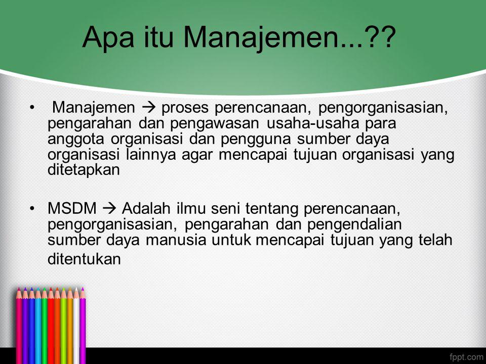Apa itu Manajemen...?? Manajemen  proses perencanaan, pengorganisasian, pengarahan dan pengawasan usaha-usaha para anggota organisasi dan pengguna su