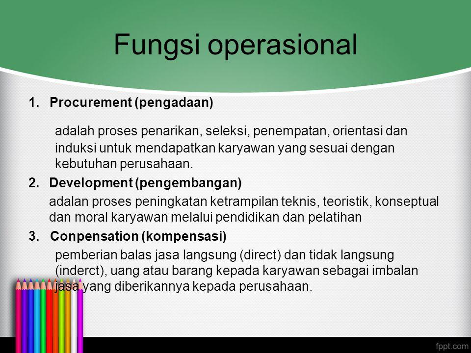Fungsi operasional 1. Procurement (pengadaan) adalah proses penarikan, seleksi, penempatan, orientasi dan induksi untuk mendapatkan karyawan yang sesu