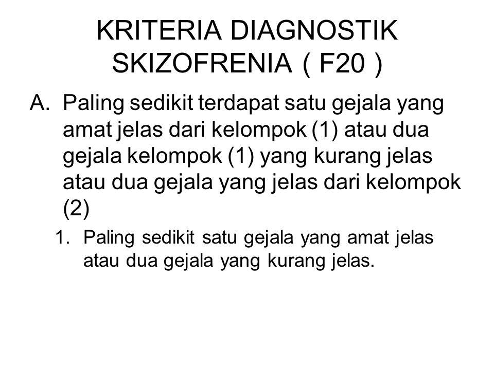 KRITERIA DIAGNOSTIK SKIZOFRENIA ( F20 ) A.Paling sedikit terdapat satu gejala yang amat jelas dari kelompok (1) atau dua gejala kelompok (1) yang kura