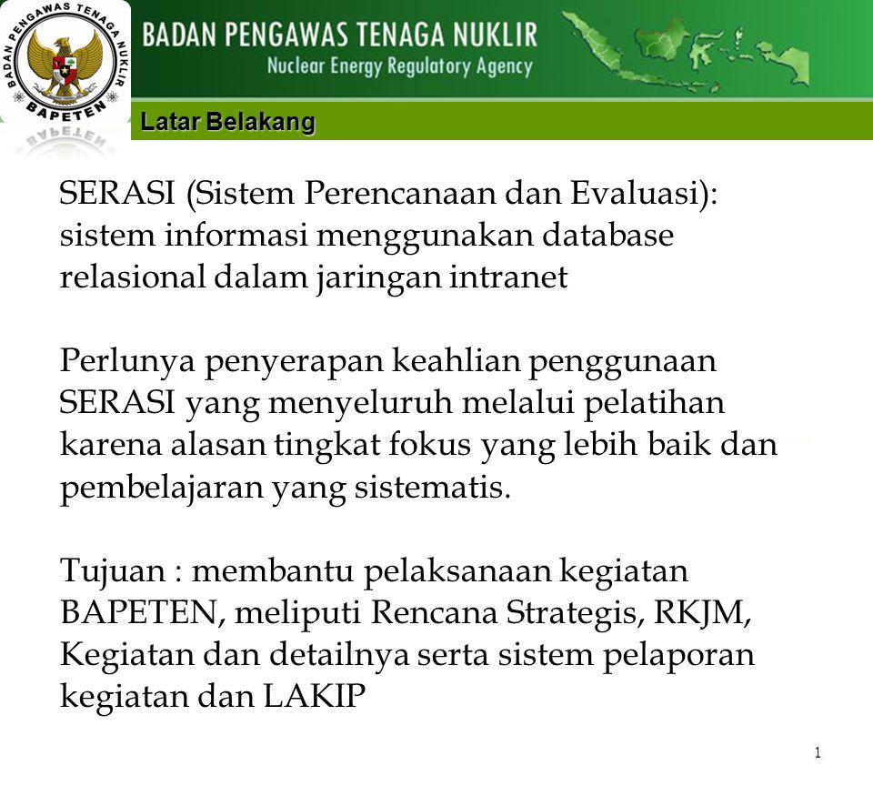 1 Instruksional PELATIHAN SERASI JAKARTA, 13 – 15 FEBRUARI 2013 BALAI PENDIDIKAN dan PELATIHAN BADAN PENGAWAS TENAGA NUKLIR