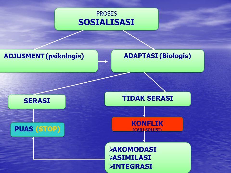 PROSES SOSIALISASI PROSES SOSIALISASI ADJUSMENT (psikologis) ADAPTASI (Biologis) SERASI TIDAK SERASI PUAS (STOP) KONFLIK (CARI SOLUSI) KONFLIK (CARI S