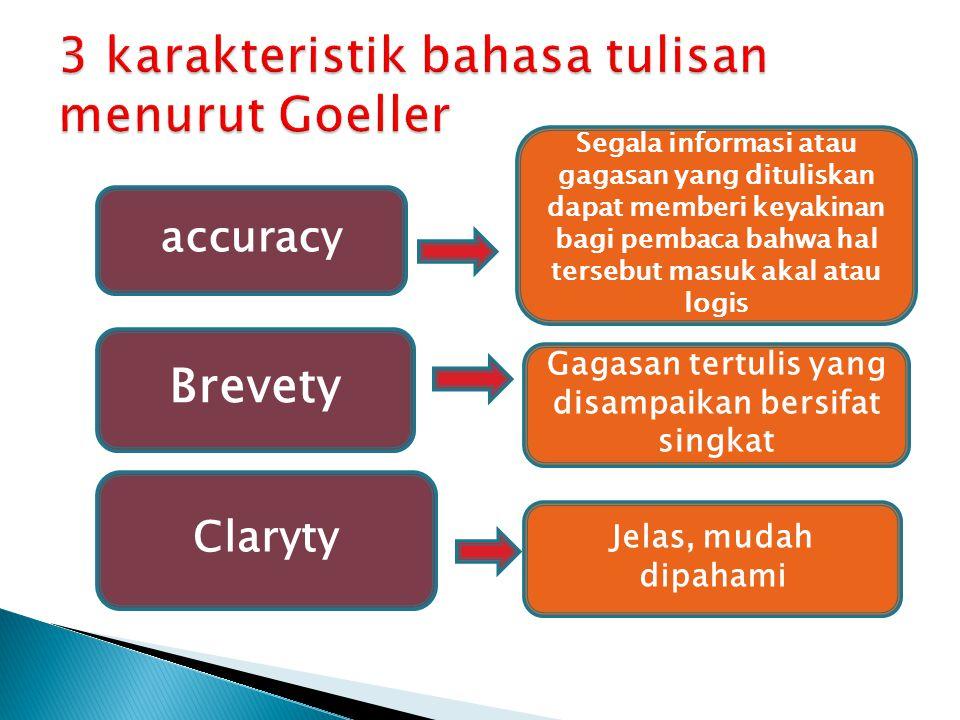 accuracy Segala informasi atau gagasan yang dituliskan dapat memberi keyakinan bagi pembaca bahwa hal tersebut masuk akal atau logis Brevety Gagasan t