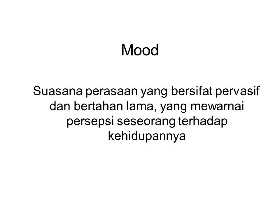 Mood Mood eutimia: adalah suasana perasaan dalam rentang normal, yakni individu mempunyai penghayatan perasaan yang luas dan serasi dengan irama hidupnya Mood hipotimia: adalah suasana perasaan yang secara pervasif diwarnai dengan kesedihan dan kemurungan.