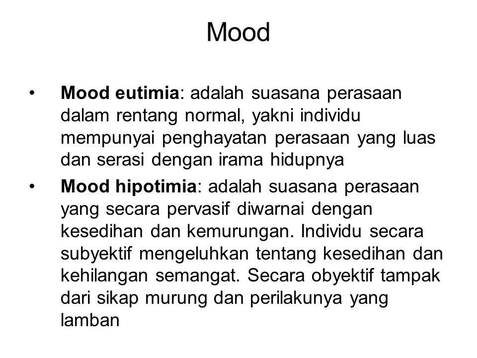 Mood Mood disforia: menggambarkan suasana perasaan yang tidak menyenangkan.