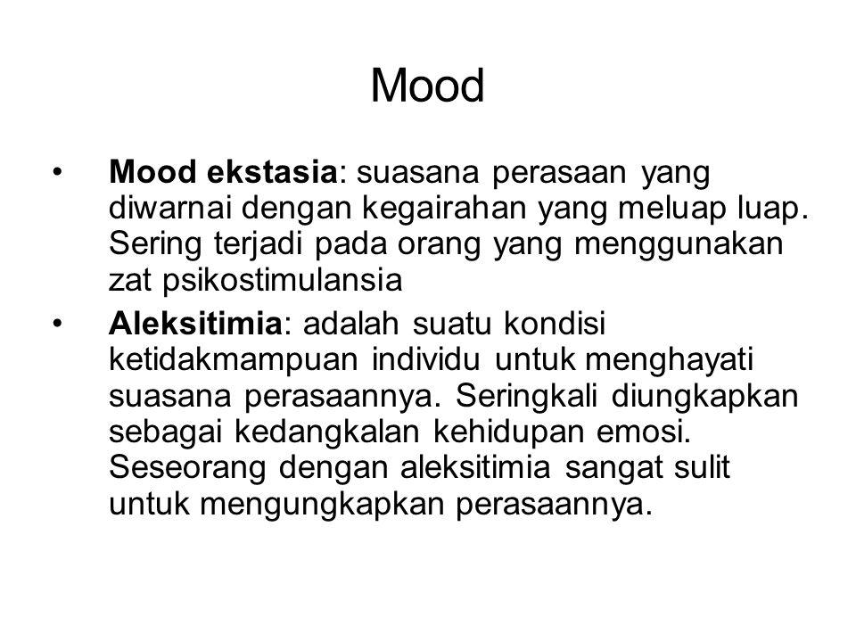 Mood Anhedonia: adalah suatu suasana perasaan yang diwarnai dengan kehilangan minat dan kesenangan terhadap berbagai aktivitas kehidupan.