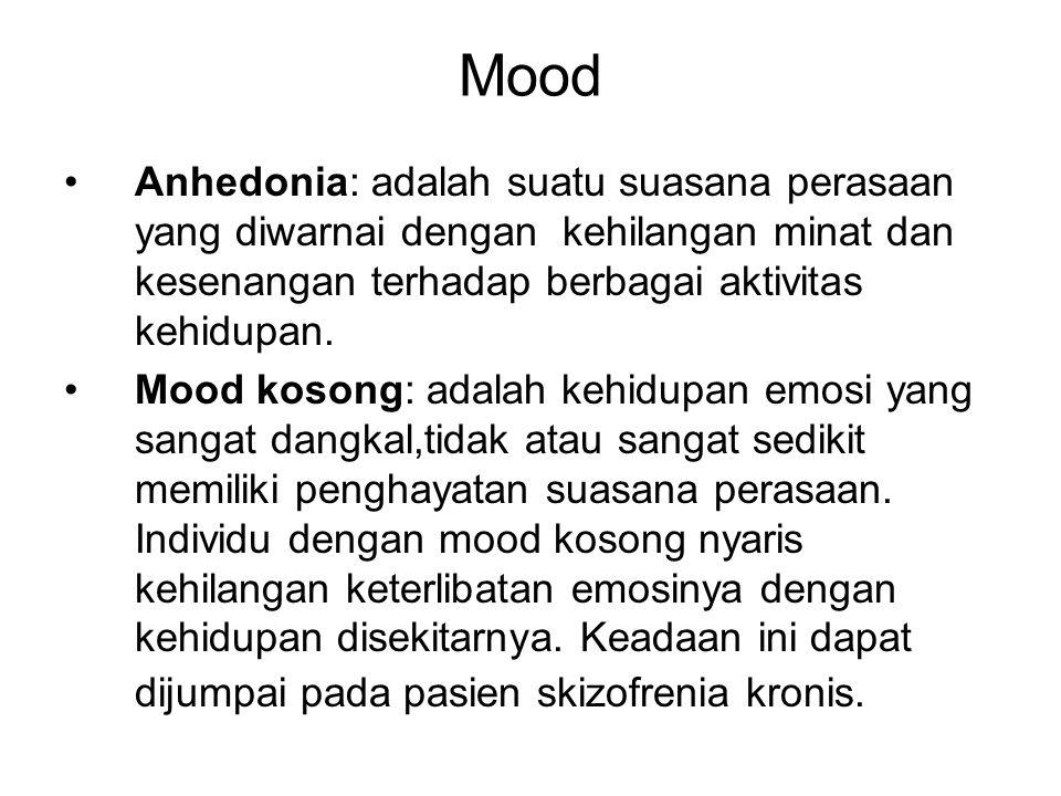 Mood Mood labil: suasana perasaan yang berubah ubah dari waktu ke waktu.