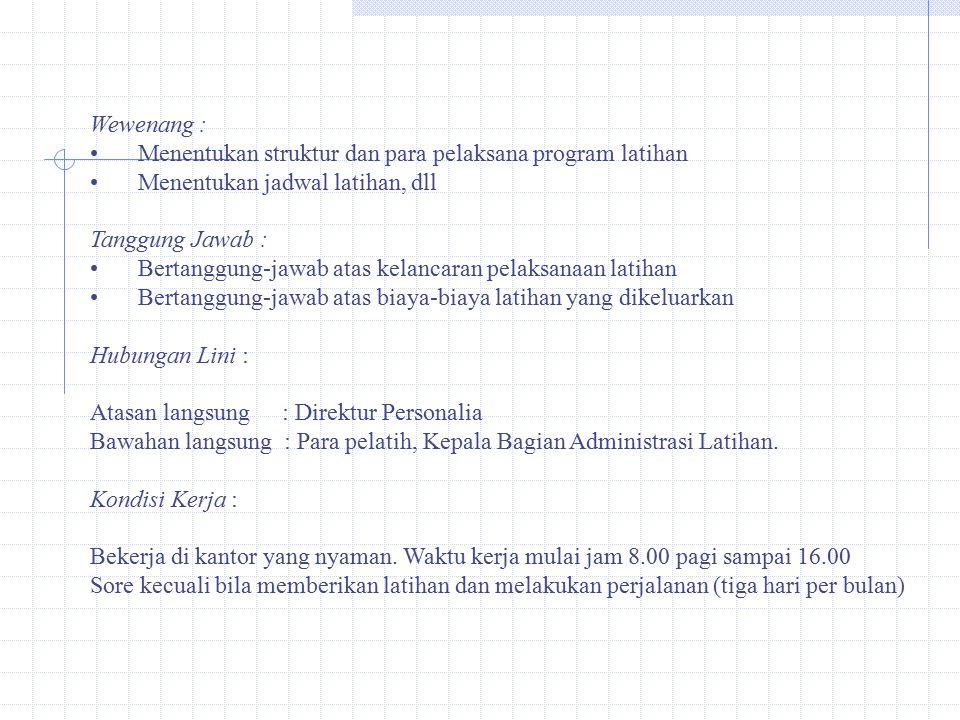 Wewenang : Menentukan struktur dan para pelaksana program latihan Menentukan jadwal latihan, dll Tanggung Jawab : Bertanggung-jawab atas kelancaran pe