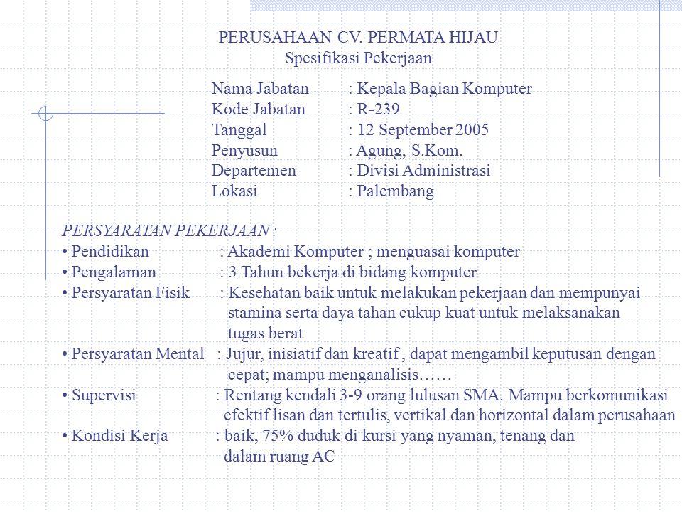 PERUSAHAAN CV. PERMATA HIJAU Spesifikasi Pekerjaan Nama Jabatan: Kepala Bagian Komputer Kode Jabatan: R-239 Tanggal: 12 September 2005 Penyusun: Agung