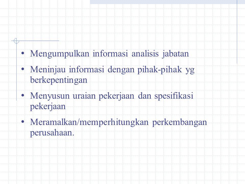 Mengumpulkan informasi analisis jabatan Meninjau informasi dengan pihak-pihak yg berkepentingan Menyusun uraian pekerjaan dan spesifikasi pekerjaan Meramalkan/memperhitungkan perkembangan perusahaan.
