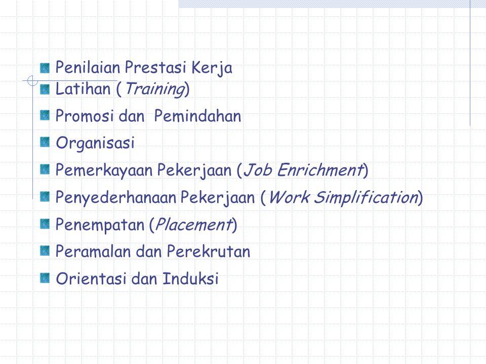 Penilaian Prestasi Kerja Latihan (Training) Promosi dan Pemindahan Organisasi Pemerkayaan Pekerjaan (Job Enrichment) Penyederhanaan Pekerjaan (Work Simplification) Penempatan (Placement) Peramalan dan Perekrutan Orientasi dan Induksi