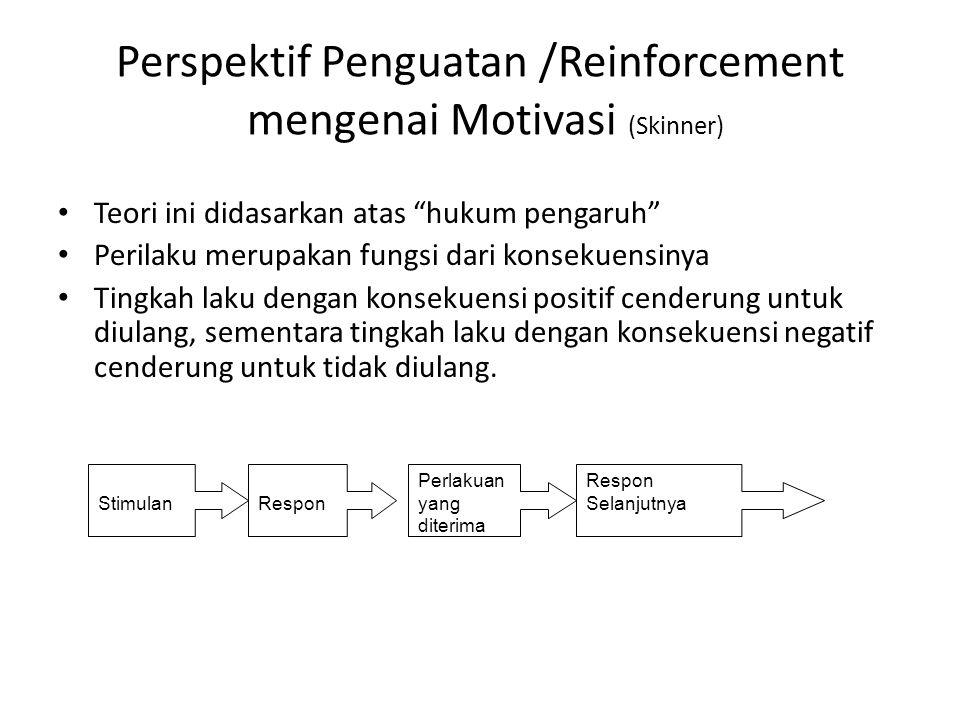 """Perspektif Penguatan /Reinforcement mengenai Motivasi (Skinner) Teori ini didasarkan atas """"hukum pengaruh"""" Perilaku merupakan fungsi dari konsekuensin"""