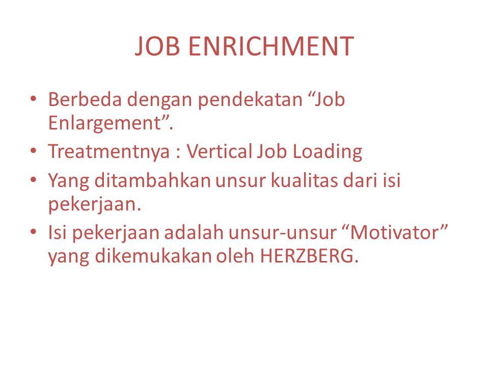 """JOB ENRICHMENT Berbeda dengan pendekatan """"Job Enlargement"""". Treatmentnya : Vertical Job Loading Yang ditambahkan unsur kualitas dari isi pekerjaan. Is"""