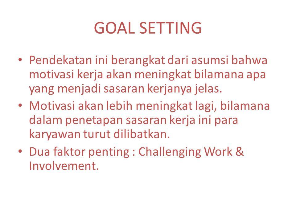 GOAL SETTING Pendekatan ini berangkat dari asumsi bahwa motivasi kerja akan meningkat bilamana apa yang menjadi sasaran kerjanya jelas. Motivasi akan
