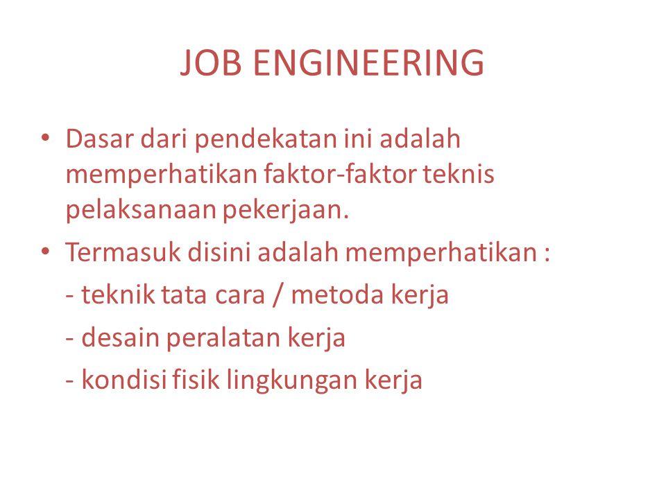JOB ENGINEERING Dasar dari pendekatan ini adalah memperhatikan faktor-faktor teknis pelaksanaan pekerjaan. Termasuk disini adalah memperhatikan : - te