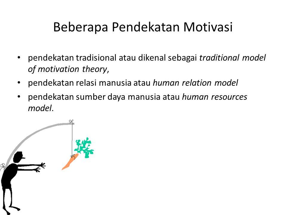 Beberapa Pendekatan Motivasi pendekatan tradisional atau dikenal sebagai traditional model of motivation theory, pendekatan relasi manusia atau human