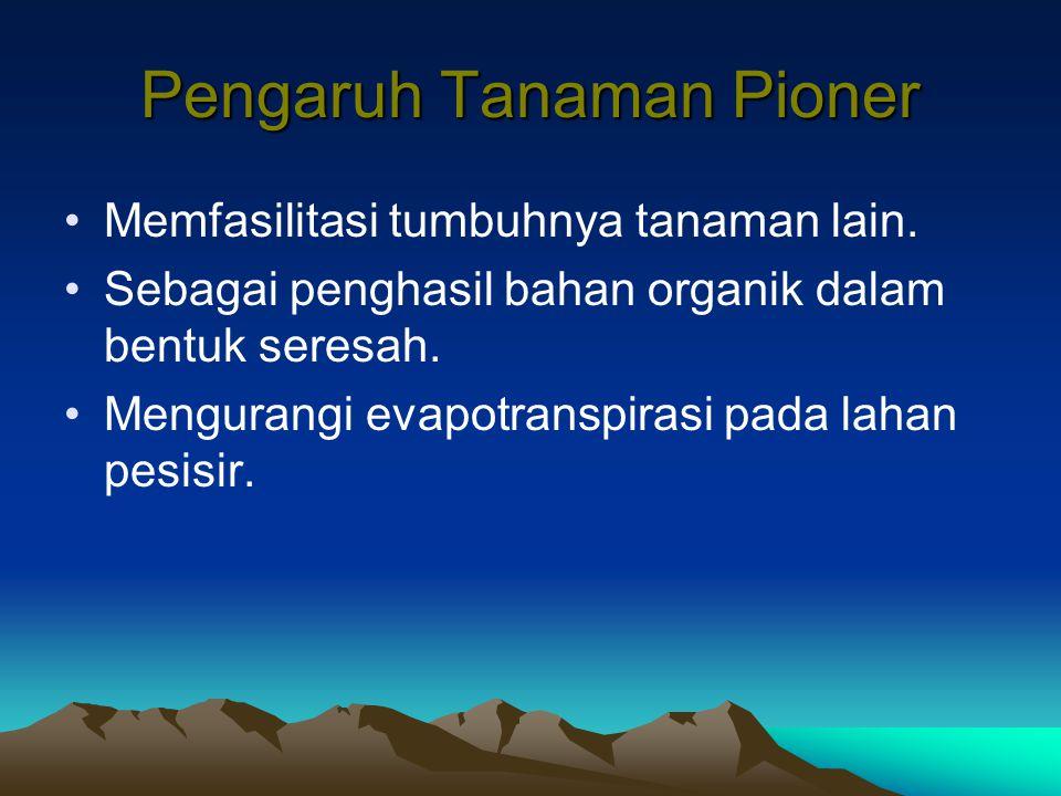 Pengaruh Tanaman Pioner Memfasilitasi tumbuhnya tanaman lain. Sebagai penghasil bahan organik dalam bentuk seresah. Mengurangi evapotranspirasi pada l