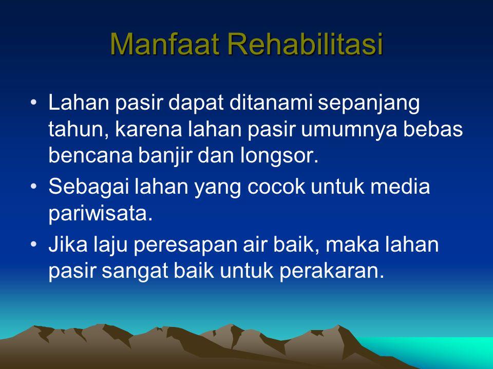 Manfaat Rehabilitasi Lahan pasir dapat ditanami sepanjang tahun, karena lahan pasir umumnya bebas bencana banjir dan longsor. Sebagai lahan yang cocok