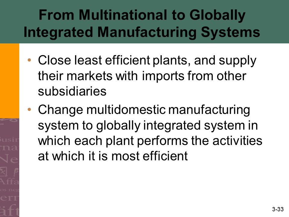 3-33 From Multinational to Globally Integrated Manufacturing Systems Close least efficient plants, and supply their markets with imports from other su