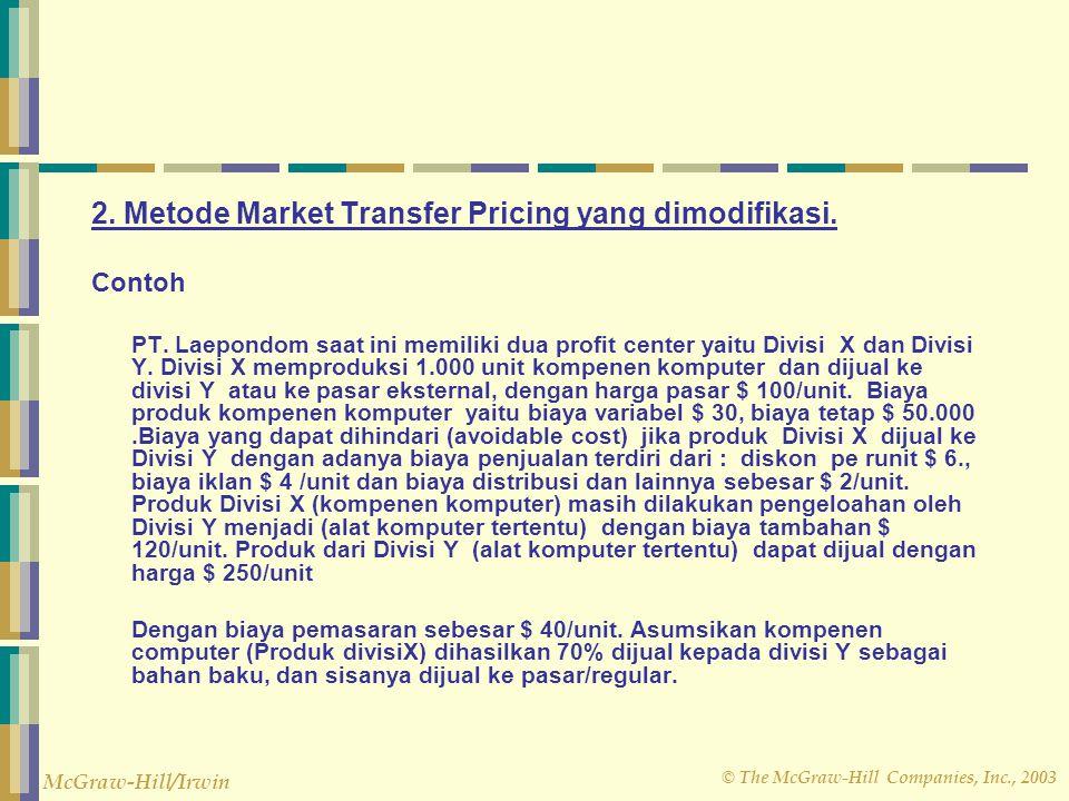 © The McGraw-Hill Companies, Inc., 2003 McGraw-Hill/Irwin 2. Metode Market Transfer Pricing yang dimodifikasi. Contoh PT. Laepondom saat ini memiliki
