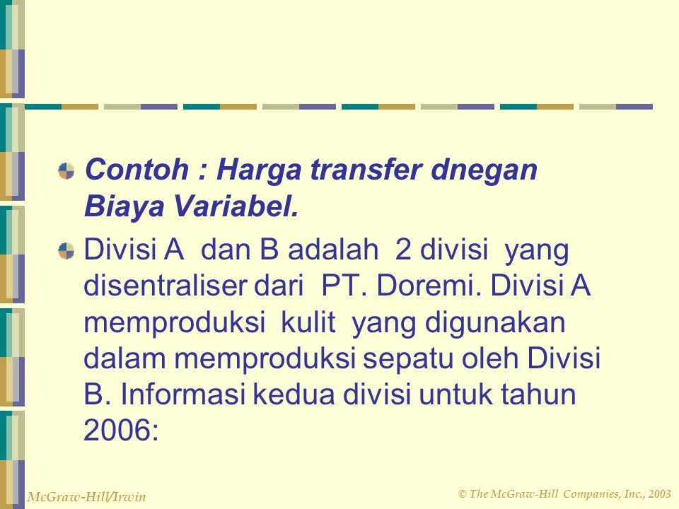 © The McGraw-Hill Companies, Inc., 2003 McGraw-Hill/Irwin Contoh : Harga transfer dnegan Biaya Variabel. Divisi A dan B adalah 2 divisi yang disentral