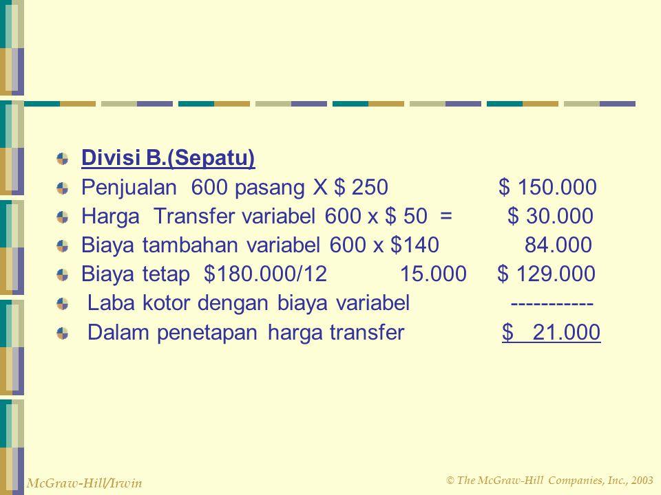 © The McGraw-Hill Companies, Inc., 2003 McGraw-Hill/Irwin Divisi B.(Sepatu) Penjualan 600 pasang X $ 250 $ 150.000 Harga Transfer variabel 600 x $ 50