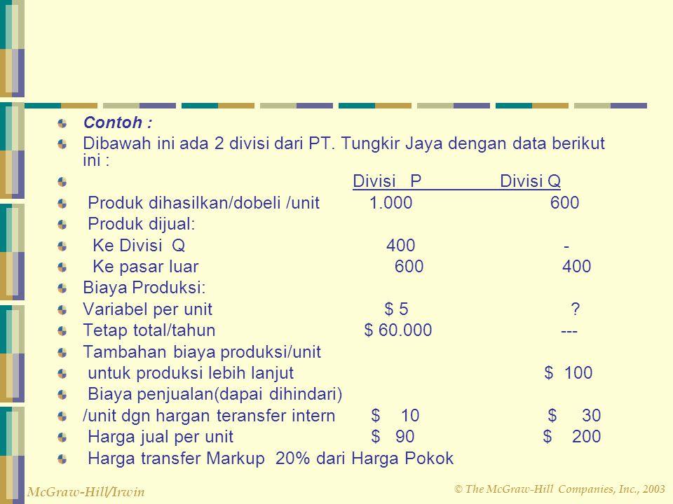 © The McGraw-Hill Companies, Inc., 2003 McGraw-Hill/Irwin Contoh : Dibawah ini ada 2 divisi dari PT. Tungkir Jaya dengan data berikut ini : Divisi P D