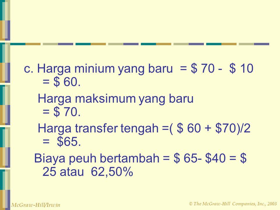 © The McGraw-Hill Companies, Inc., 2003 McGraw-Hill/Irwin c. Harga minium yang baru = $ 70 - $ 10 = $ 60. Harga maksimum yang baru = $ 70. Harga trans