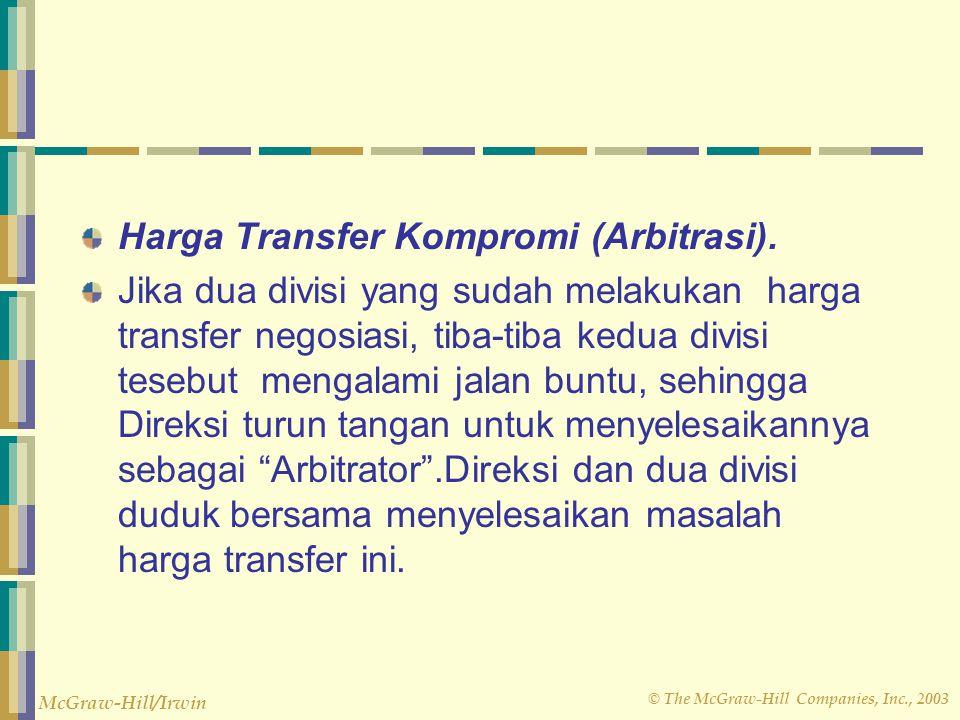 © The McGraw-Hill Companies, Inc., 2003 McGraw-Hill/Irwin Harga Transfer Kompromi (Arbitrasi). Jika dua divisi yang sudah melakukan harga transfer neg