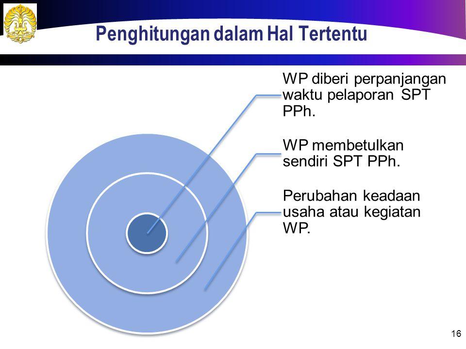 Penghitungan dalam Hal Tertentu WP diberi perpanjangan waktu pelaporan SPT PPh. WP membetulkan sendiri SPT PPh. Perubahan keadaan usaha atau kegiatan