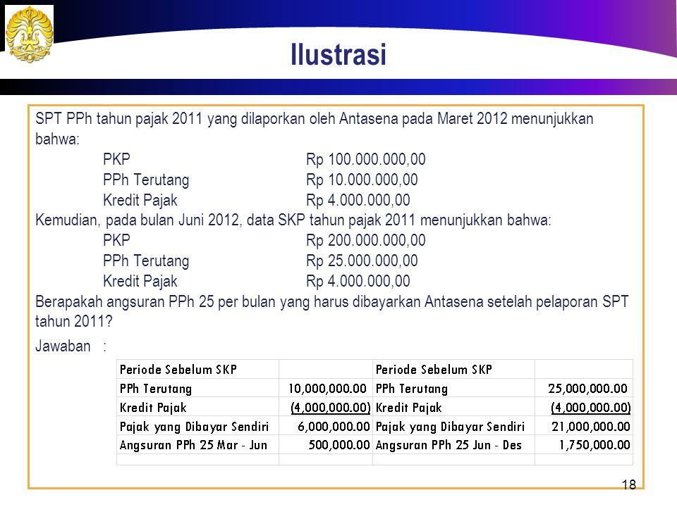 Ilustrasi SPT PPh tahun pajak 2011 yang dilaporkan oleh Antasena pada Maret 2012 menunjukkan bahwa: PKPRp 100.000.000,00 PPh TerutangRp 10.000.000,00 Kredit PajakRp 4.000.000,00 Kemudian, pada bulan Juni 2012, data SKP tahun pajak 2011 menunjukkan bahwa: PKPRp 200.000.000,00 PPh TerutangRp 25.000.000,00 Kredit PajakRp 4.000.000,00 Berapakah angsuran PPh 25 per bulan yang harus dibayarkan Antasena setelah pelaporan SPT tahun 2011.