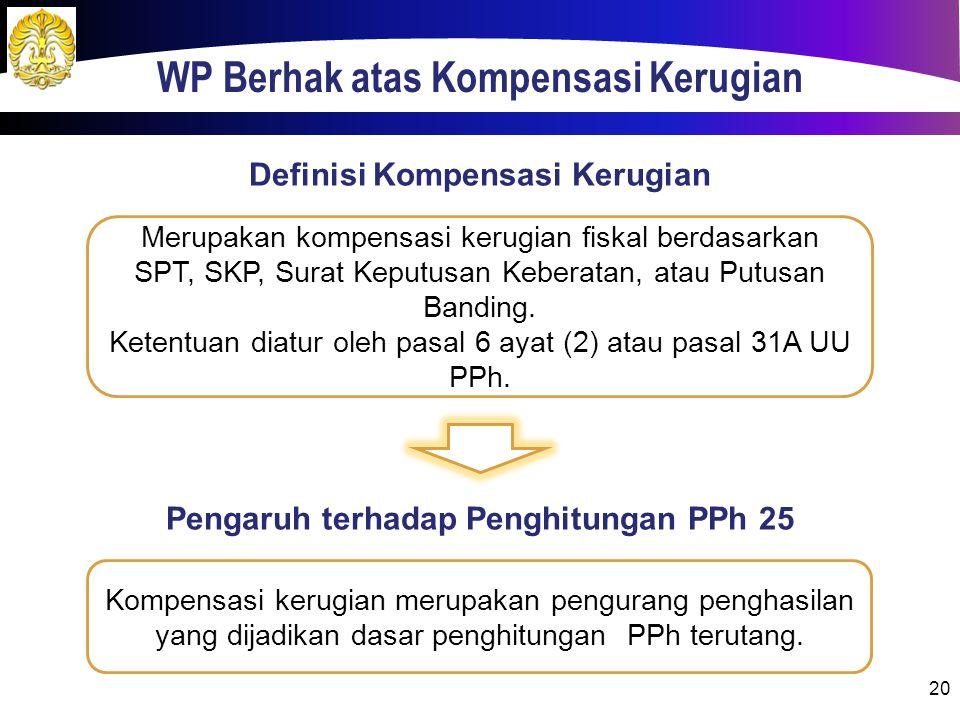 WP Berhak atas Kompensasi Kerugian 20 Merupakan kompensasi kerugian fiskal berdasarkan SPT, SKP, Surat Keputusan Keberatan, atau Putusan Banding. Kete