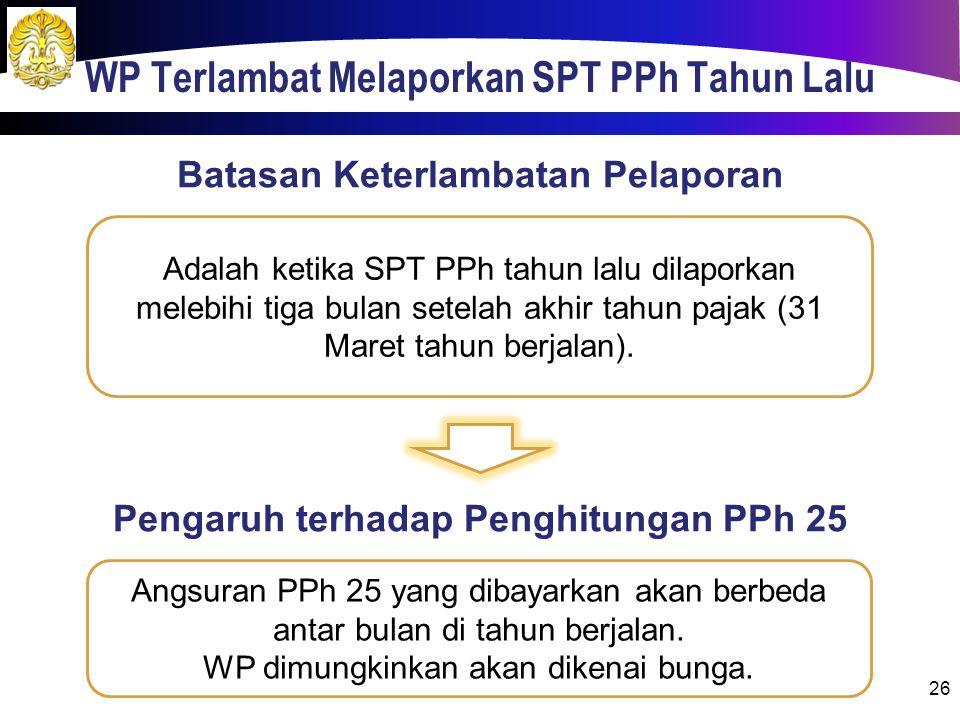 WP Terlambat Melaporkan SPT PPh Tahun Lalu 26 Adalah ketika SPT PPh tahun lalu dilaporkan melebihi tiga bulan setelah akhir tahun pajak (31 Maret tahun berjalan).
