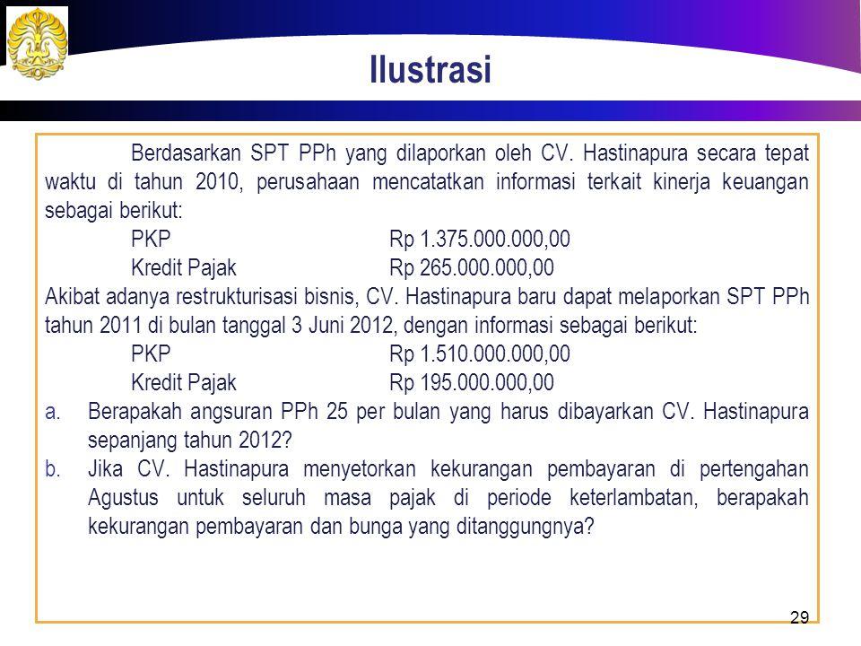 Ilustrasi Berdasarkan SPT PPh yang dilaporkan oleh CV. Hastinapura secara tepat waktu di tahun 2010, perusahaan mencatatkan informasi terkait kinerja