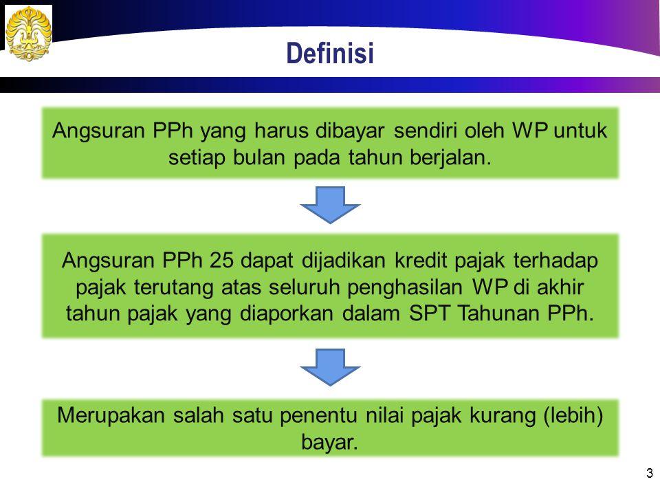 Definisi 3 Angsuran PPh yang harus dibayar sendiri oleh WP untuk setiap bulan pada tahun berjalan. Angsuran PPh 25 dapat dijadikan kredit pajak terhad