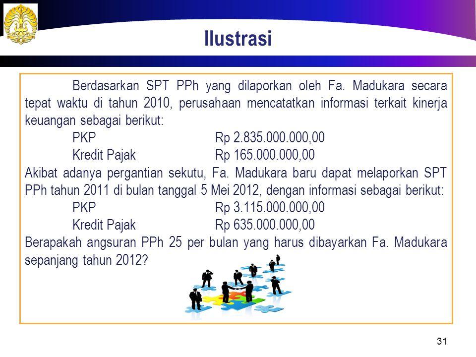 Ilustrasi Berdasarkan SPT PPh yang dilaporkan oleh Fa. Madukara secara tepat waktu di tahun 2010, perusahaan mencatatkan informasi terkait kinerja keu