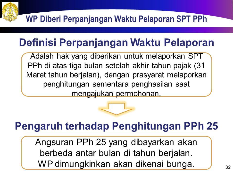WP Diberi Perpanjangan Waktu Pelaporan SPT PPh 32 Adalah hak yang diberikan untuk melaporkan SPT PPh di atas tiga bulan setelah akhir tahun pajak (31