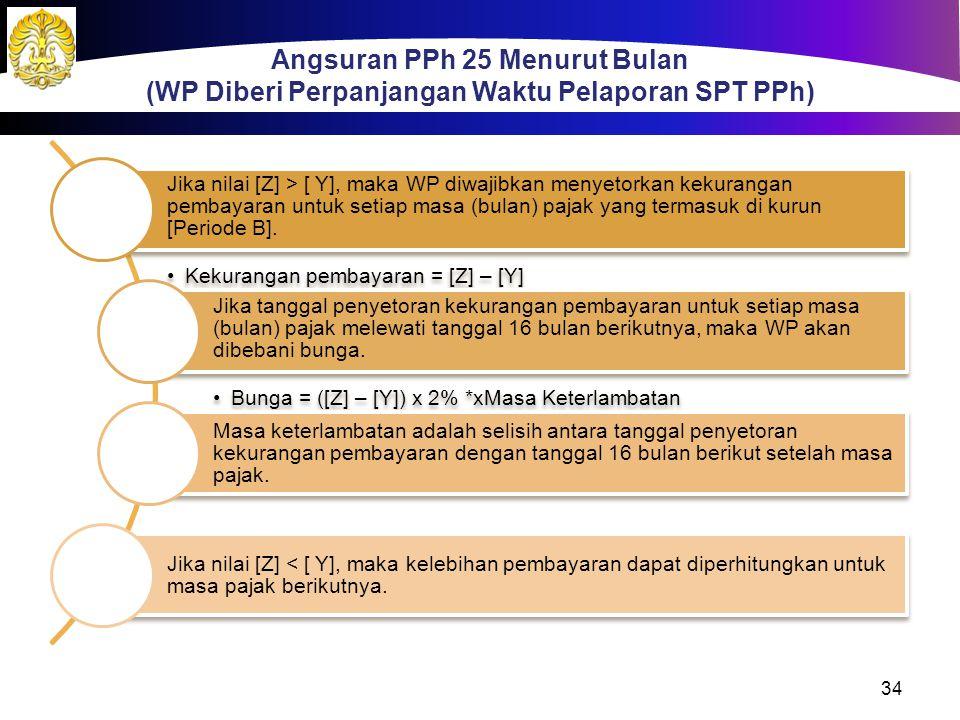 Jika nilai [Z] > [ Y], maka WP diwajibkan menyetorkan kekurangan pembayaran untuk setiap masa (bulan) pajak yang termasuk di kurun [Periode B]. Kekura