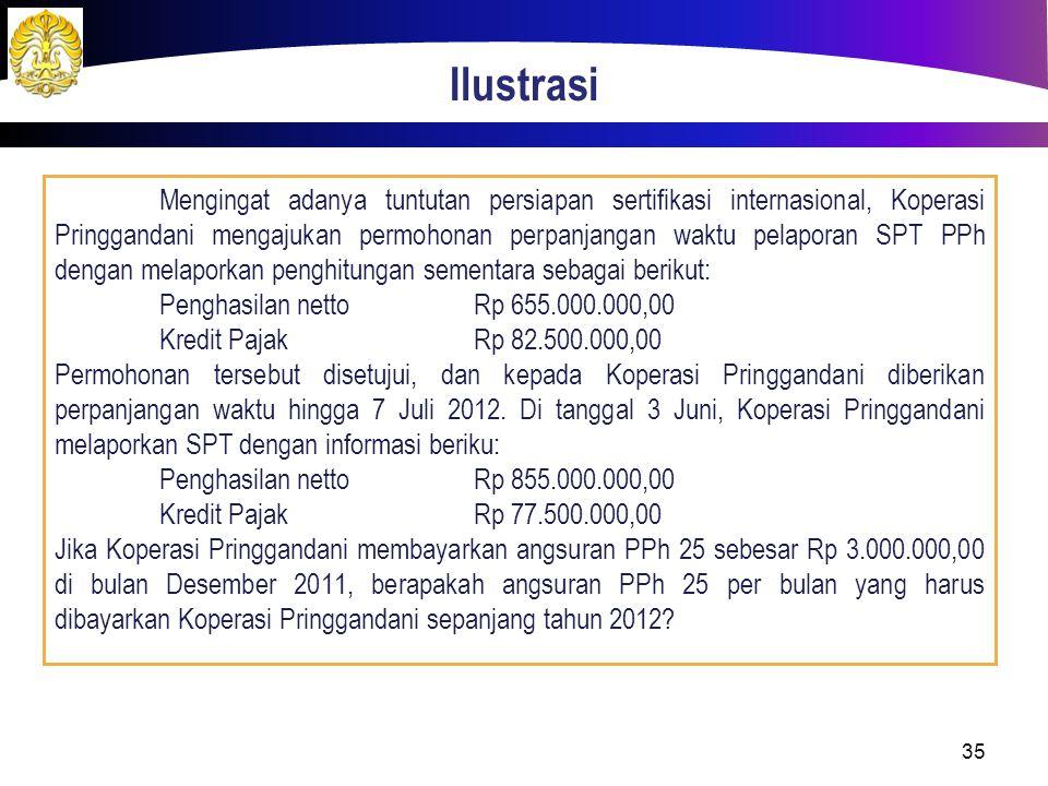 Ilustrasi Mengingat adanya tuntutan persiapan sertifikasi internasional, Koperasi Pringgandani mengajukan permohonan perpanjangan waktu pelaporan SPT PPh dengan melaporkan penghitungan sementara sebagai berikut: Penghasilan nettoRp 655.000.000,00 Kredit PajakRp 82.500.000,00 Permohonan tersebut disetujui, dan kepada Koperasi Pringgandani diberikan perpanjangan waktu hingga 7 Juli 2012.