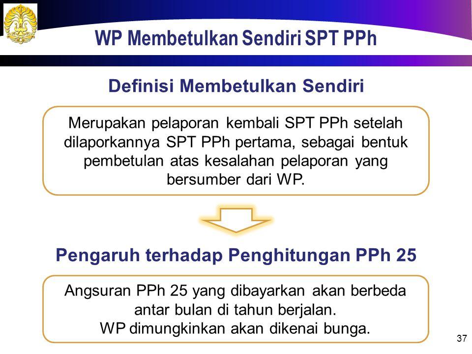 WP Membetulkan Sendiri SPT PPh 37 Merupakan pelaporan kembali SPT PPh setelah dilaporkannya SPT PPh pertama, sebagai bentuk pembetulan atas kesalahan pelaporan yang bersumber dari WP.