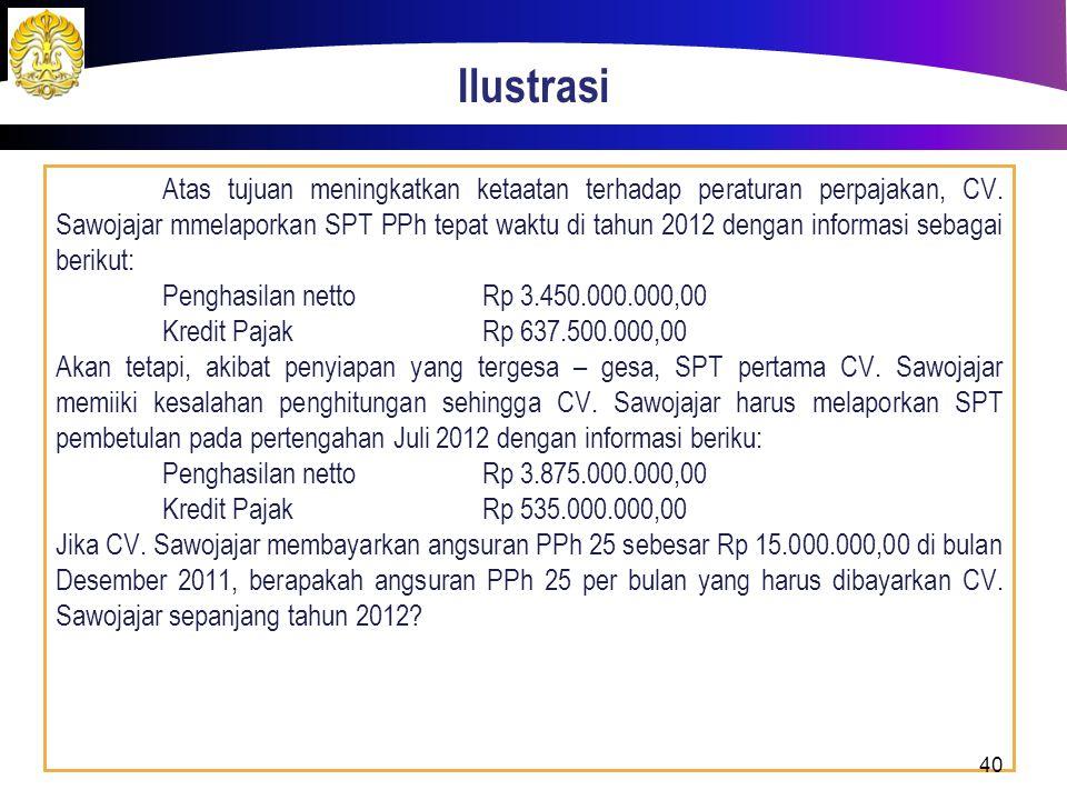Ilustrasi Atas tujuan meningkatkan ketaatan terhadap peraturan perpajakan, CV. Sawojajar mmelaporkan SPT PPh tepat waktu di tahun 2012 dengan informas