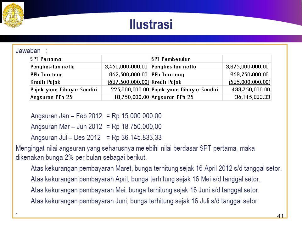 Ilustrasi Jawaban: Angsuran Jan – Feb 2012= Rp 15.000.000,00 Angsuran Mar – Jun 2012= Rp 18.750.000,00 Angsuran Jul – Des 2012= Rp 36.145.833,33 Mengi