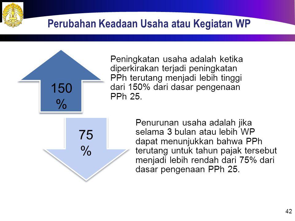 Perubahan Keadaan Usaha atau Kegiatan WP 42 Peningkatan usaha adalah ketika diperkirakan terjadi peningkatan PPh terutang menjadi lebih tinggi dari 150% dari dasar pengenaan PPh 25.