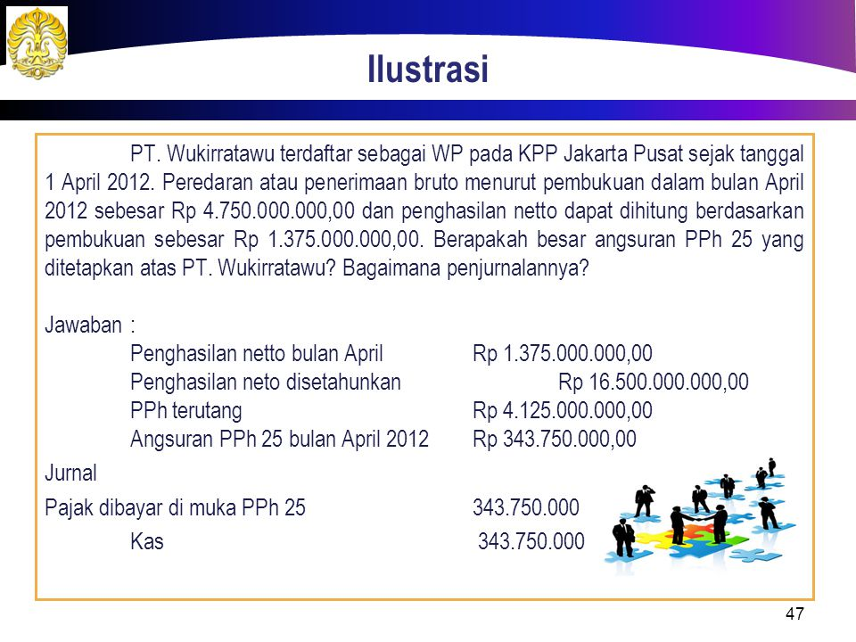 Ilustrasi PT.Wukirratawu terdaftar sebagai WP pada KPP Jakarta Pusat sejak tanggal 1 April 2012.