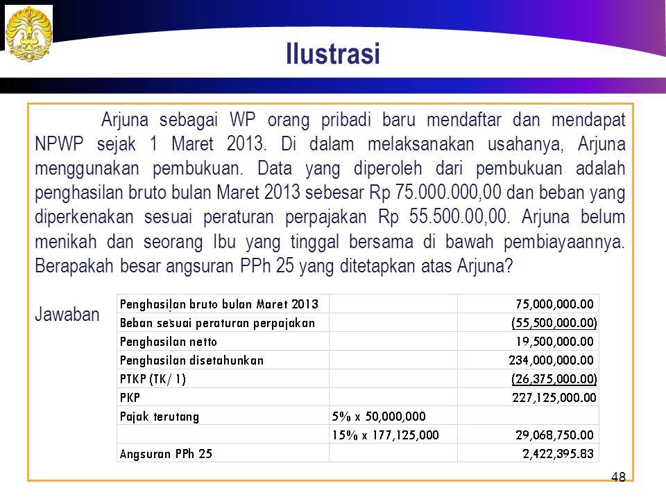 Ilustrasi Arjuna sebagai WP orang pribadi baru mendaftar dan mendapat NPWP sejak 1 Maret 2013. Di dalam melaksanakan usahanya, Arjuna menggunakan pemb