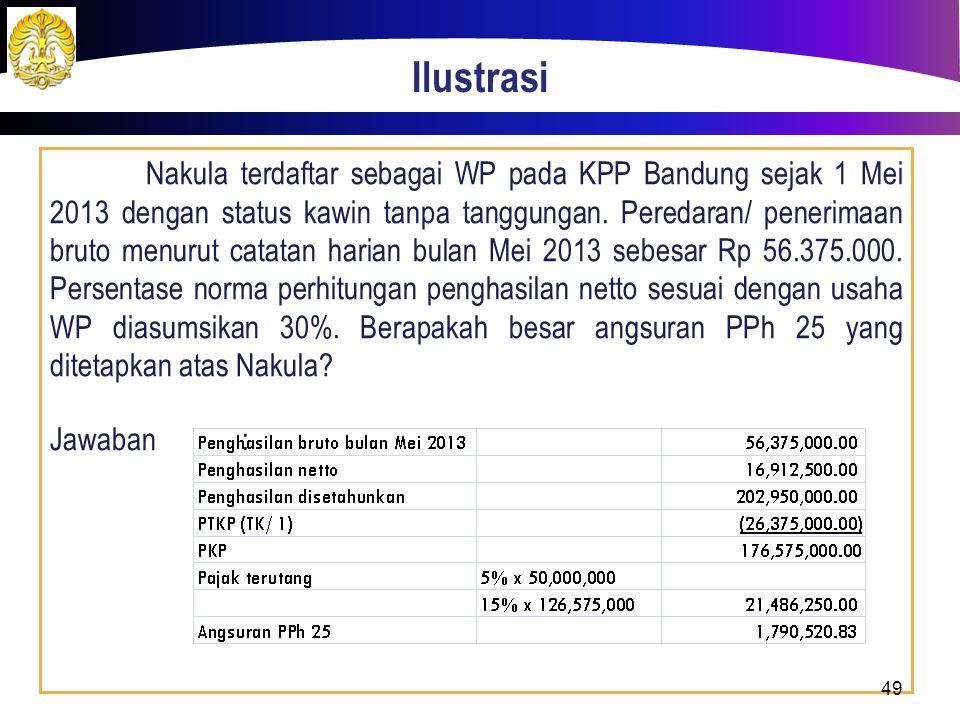 Ilustrasi Nakula terdaftar sebagai WP pada KPP Bandung sejak 1 Mei 2013 dengan status kawin tanpa tanggungan. Peredaran/ penerimaan bruto menurut cata