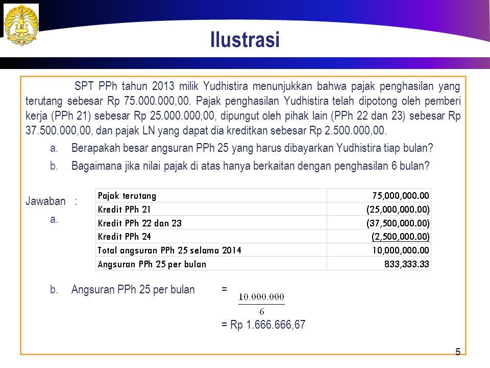 Ilustrasi SPT PPh tahun 2013 milik Yudhistira menunjukkan bahwa pajak penghasilan yang terutang sebesar Rp 75.000.000,00. Pajak penghasilan Yudhistira