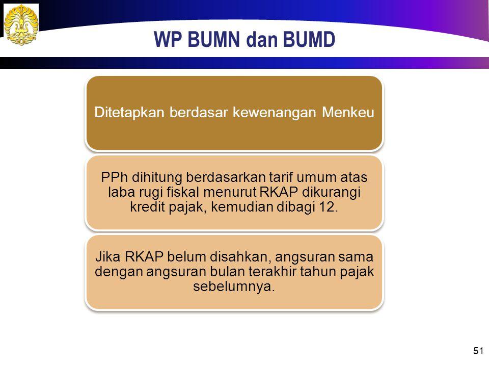WP BUMN dan BUMD 51 Ditetapkan berdasar kewenangan Menkeu PPh dihitung berdasarkan tarif umum atas laba rugi fiskal menurut RKAP dikurangi kredit pajak, kemudian dibagi 12.
